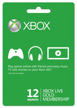 Xbox Live Twelve Month Gold Subscription Card